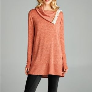 Love Kuza Fringe Trim Cowl Neck Tunic